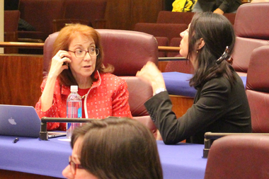 Ald. Michele Harris talks with Business Affairs Commissioner Maria Guerra Lapacek at a previous committee meeting on vacation rentals.