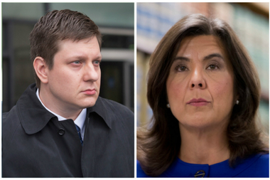 Cook County State's Attorney Anita Alvarez (r.) recused herself from the trial of Chicago Police Officer Jason Van Dyke (l.), who faces murder charges in the shooting of Laquan McDonald.