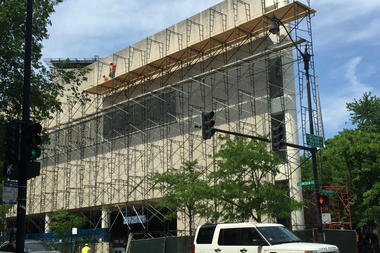Scaffolding was installed at Lincoln Avenue and Orchard Street.