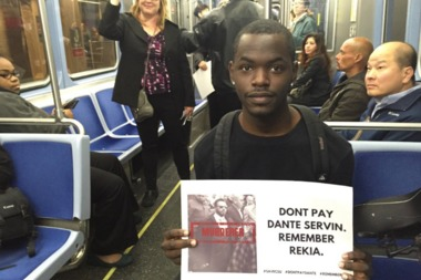 Even before Dante Servin quit Tuesday, protesters took to the CTA to voice their displeasure with him continuing to collect a paycheck.