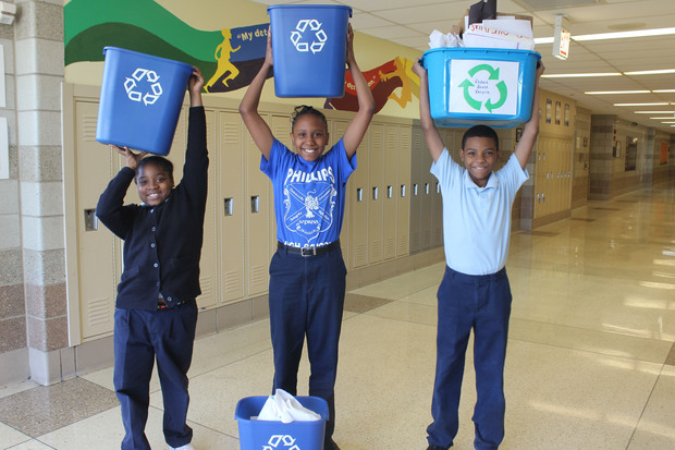 Deneen Elementary School students Mirycle Smith (from l.), Tasha Barnes and  Rondell Wetzel created a schoolwide recycling program with the help of their teacher, Kelsey Sohrweide.