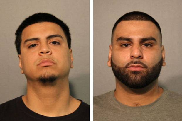 Brothers Hector Mendoza (l.) and Sergio Hernandez are charged with attacking an off-duty Chicago Police officer near Wrigley Field.