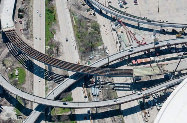 IDOT released photos of the construction project linking Lake Shore Drive and the Stevenson Expressway on May 3, 2016.