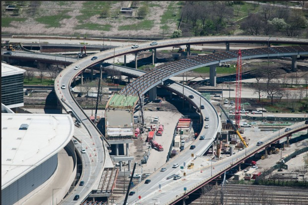 IDOTreleased photos of the construction project linking Lake Shore Drive and the Stevenson Expressway on May 3, 2016.