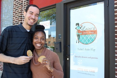 Jaryd and Rachel Bernier-Green of Oakland will open Laine's Bake Shop in Morgan Park on this weekend. The pair supply four types of specialty cookies to Whole Foods Market, including the honey nut peanut butter cookies pictured here.