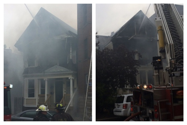 Chicago firefighters spent more than an hour dousing the fire in the 3300 block of North Marshfield Avenue on Monday.