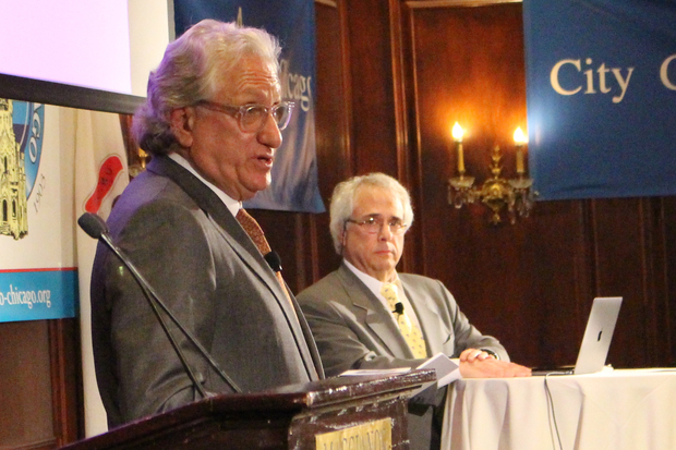 Laurence Geller and Lou Raizin pitch their tourism proposals to the City Club.