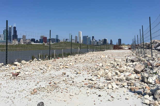 Northerly Island Park is closed to the public after waves eroded soil under the walking path.