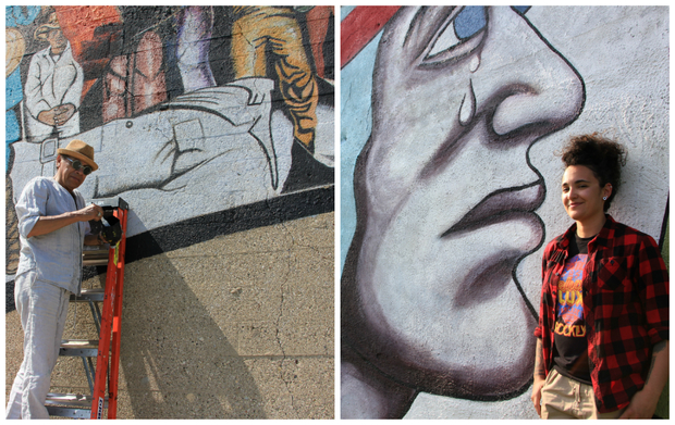 Marcos Raya (l.) is restoring a Pilsen mural at 18th and Western, while Sam Kirk restored a mural at 16th and Blue Island.