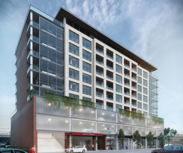 A rendering of the project looking northwest on Clybourn Avenue.