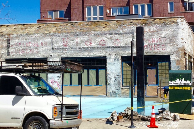 A renovation at Pizza Parlor Bar, most recently home to Moonshine, revealed an old billboard advertising a video store on the Honore facing side of the corner building.