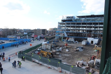 The half-finished Wrigley Field plaza on Opening Day 2016.