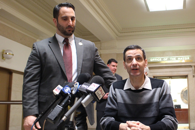 Aldermen Anthony Napolitano and Nicholas Sposato speak at a City Hall news conference earlier this year.