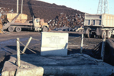The grave of Andreas von Zirngibl rests in a scrap yard at 9331 S. Ewing Ave. The soldier helped defeat Napoleon at the Battle of Waterloo in 1815. This is a photo of the grave in 1996, before it was restored by the Southeast Chicago Historical Museum.