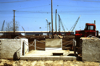 The grave of Andreas von Zirngibl rests in a scrap yard at 9331 S. Ewing Ave. This is a photo of the grave after it was restored in 1998 by the Southeast Chicago Historical Museum.