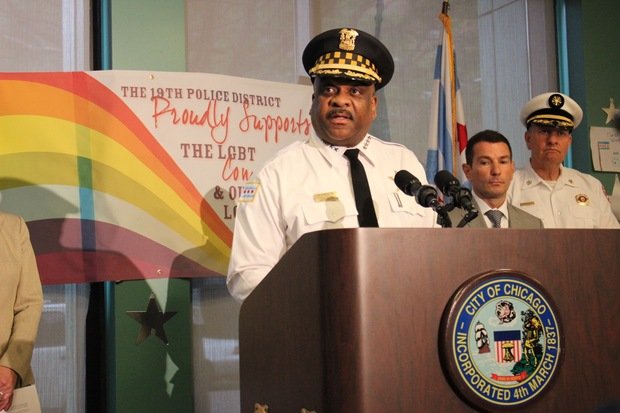 Chicago Police Supt. Eddie Johnson addresses concerns about safety during the Pride Parade and Pride Fest during a news conference Thursday.