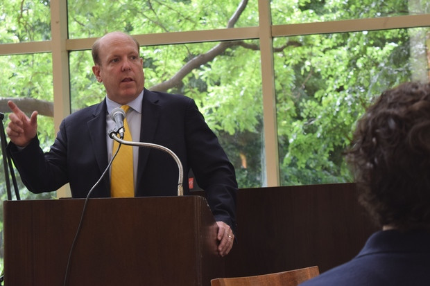 Ald. Harry Osterman (48th) and politicians with stakes in the 40th and 48th wards spoke about the state of the neighborhood at the State of Edgewater breakfast held at The Breakers retirement community.
