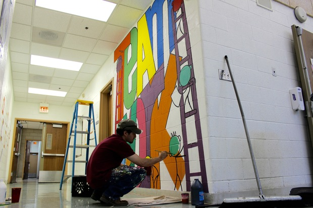 Second-grade students at the Annie Keller Regional Gifted Center in Mount Greenwood worked with the National Museum of Mexican Art to create a mural just outside of the school's cafeteria.