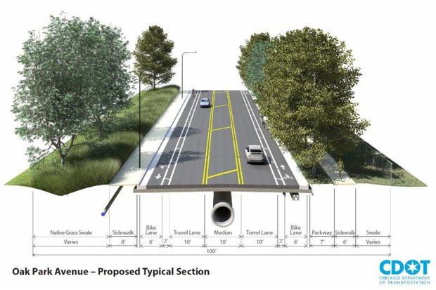 Oak Park Avenue is set to be rebuilt with three 10-foot travel lanes and a striped median to allow cars to make left turns. New sidewalks, new lighting and buffered bike lanes will be built along with new curbs and gutters.