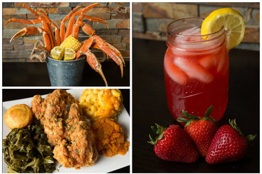 Crab legs, fried chicken and a strawberry cocktail.