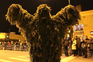 Scariest costume competitor takes it to the streets to make his scary case.