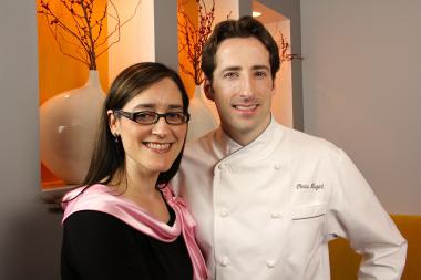 Goosefoot chef Chris Nugent poses with his wife, Nina.