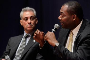 Chicago Mayor Rahm Emanuel, left, with ex-Chicago Public Schools CEO Jean-Claude Brizard, who formally resigned as CEO on Oct. 10.