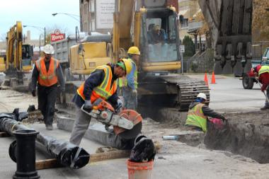 Construction crews worked on the Lawrence Avenue water main replacement project.