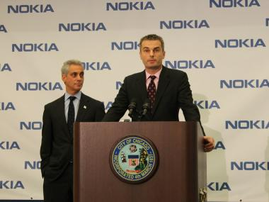 Mayor Rahm Emanuel announces the relocation of Nokia to the West Loop with vice president of Nokia Location & Commerce, Traffic, Ogi Redzic.