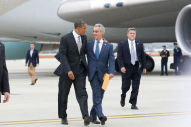 President Obama arrived at O'Hare Airport in 2012 to vote early and is joined by Chicago Mayor Rahm Emanuel.