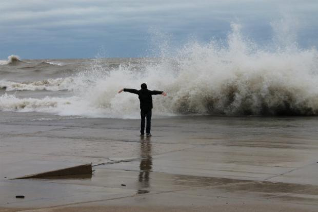 Waves reach frightening heights along Lake Michigan due to superstorm Sandy.