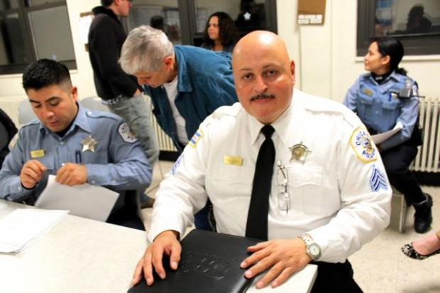 Sgt. Juan Clas, at the close of a community police beat meeting Wednesday, Nov. 7, 2012.