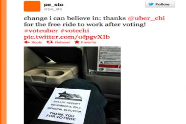 Another customer thanks Uber via Twitter on election day