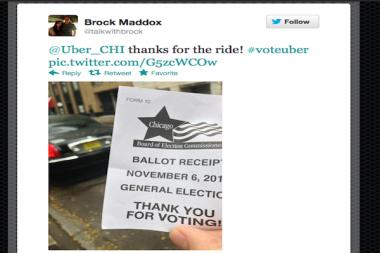 An Uber user Tweets with joy after getting a free ride to the polls on election day.