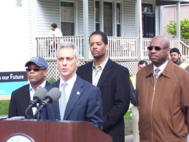 Mayor Rahm Emanuel is joined (from left to right) by Aldermen Walter Burnett Jr., Anthony Beale and Willie Cochran at a construction site on the South Side as he announced changes to the Department of Water Management.