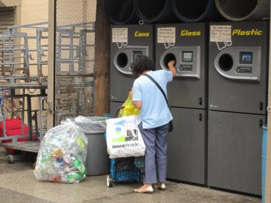 A visitor dropped recyclables into the machine at a supermarket on East Fourth Street and Avenue C.