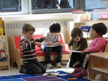 Young students hard at work at P.S. 276 in Battery Park City.