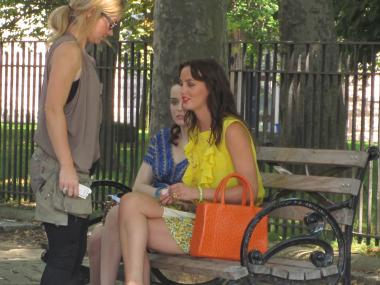 Leighton Meester, who plays Blair, on the set of