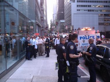 Passengers evacuate at 56th near Park Ave. after a Metro-North train derailed just after leaving Grand Central Station.