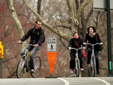 Cyclists in Central Park. Some Upper East Siders have criticized the opening of pedestrian paths to cyclists in the park.