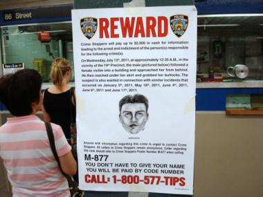 A wanted poster hangs in the 86th Street station of the Lexington Avenue line on July 17, 2011 in the wake of a groping spree on the Upper East Side.