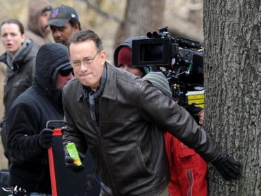 Tom Hanks filming on location for