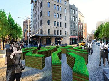 An artist's rendering of the scattering of grass-covered 3-foot-high walls of Karen Bausman's art installation, which will occupy the Meatpacking District's Gansevoort Plaza in April 2012.