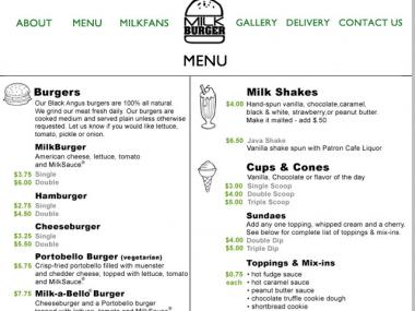The Milk Burger menu, which has been accused of looking remarkably similar to rival Shake Shack's menu.