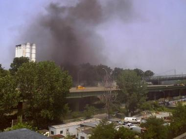 A massive fire at the North River Wastewater Treatment Plant at 725 W. 135th St. forced the evacuation of Riverbank State Park and closed a portion of the West Side Highway.