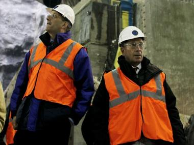 MTA chairman Jay Walder (l.) and Mayor Michael Bloomberg inspected the large cavern being constructed for the new 34th street subway station together on February 3, 2010.