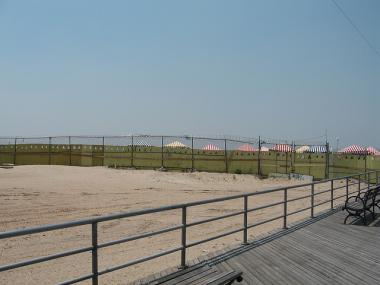 Sea Gate Beach's waters are closed after sewage spilled into the Hudson after a waste treatment fire July 13, 2011.