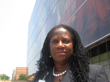 Denise Soares, the new Executive Director of Harlem Hospital outside its new addition, scheduled to open in August 2012.