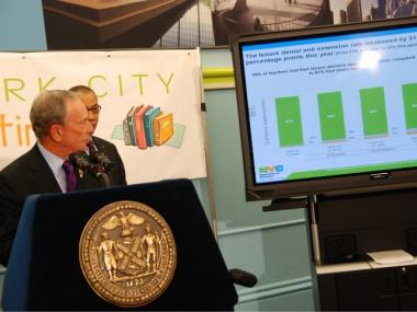 Mayor Michael Bloomberg announced that tenure rates dropped significantly this year to just under 60 percent.