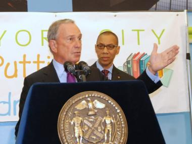 Mayor Bloomberg, with Schools Chancellor Dennis Walcott, announces on July 27, 2011 that tenure rates for new teachers have dropped more than 40 percent since the '06-'07 school year.
